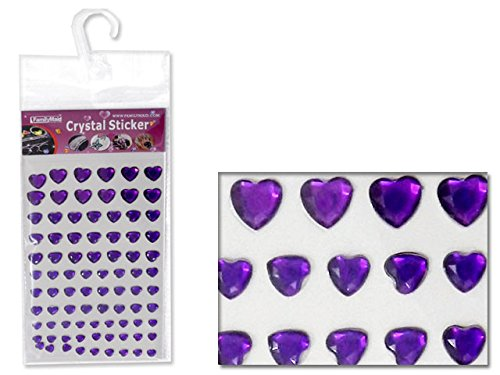 Heart-Shaped Rhinestone Stickers 6 Asst Colors , Case of 288 by DollarItemDirect