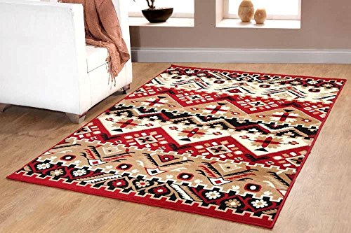Southwest Southwestern Modern Geometric Area Rug Rustic Lodge Red 655 Furnishmyplace- 8x10 - Panel Red Area Rug