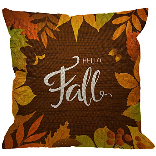 HGOD DESIGNS Hello Fall Throw Pillow Cover,Nature Seasonal Autumn Leaves Birch Bouquet Branch Foliage Leaf Brown Decorative Pillow Cases Cotton Linen Cushion Covers for Home Sofa Couch 18x18 - Leaf Bouquet Autumn