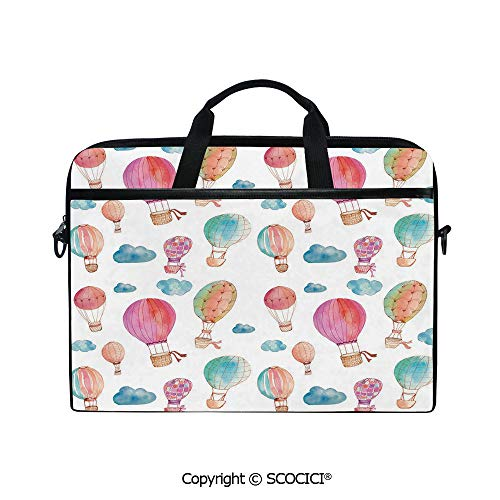 Personalized Laptop Bag 14-15 Inch Messenger Bag Hand Painted Style Set of Cute Floating Hot Air Balloons with Blue Clouds Shoulder Sleeve Case Tablet -