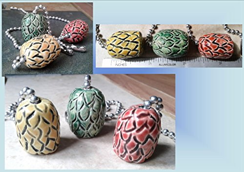 Set of 3 Dragon Egg Ceramic Fan Lamp Pulls Clay Pottery Pulls Red Gold Green Fantasy Dragon Eggs Decor
