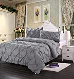 HOME HUG TEXTILES 3pc Polyester Pinch Pleat Puckering Comforter Set Sheets Wrinkle Resistance Queen Size Color Grey ¡­