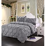 homehug polyester king size pinch pleat puckering comforter set wrinkle resistance 3peices grey