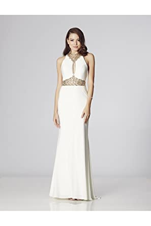 Tiffanys Illusion Prom Ivory Suki Jewelled Evening Dress UK 8 (US 4)