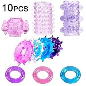 Actualizado 10 piezas de juguetes de silicona premium para una erección más larga (color aleatorio)