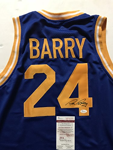 Autographed/Signed Rick Barry Golden State Warriors Blue Basketball Jersey JSA COA