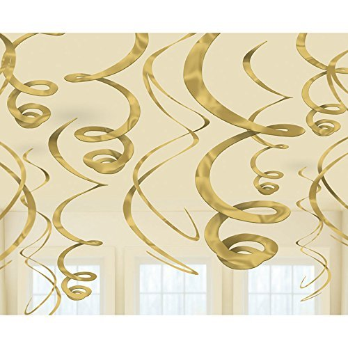 Amscan 67055.19 Plastic Swirl Decorations - Gold, Multi Color