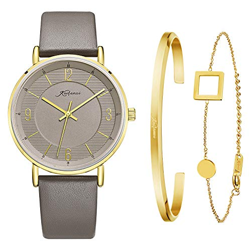 Kaifanxi Women's Quartz Wristwatch Minimalist Modern Design Watch with Gift Bracelet for Ladies Sapphire Crystal Glass Gold Case and Classic Gray Leather Band ()