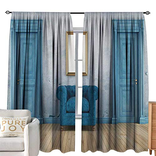 cobeDecor Insulated Sunshade Curtain Empty Room with Two Doors Armchair and Simple Mirror with Golden Color Frame for Living, Dining, Bedroom (Pair) W72 x L108