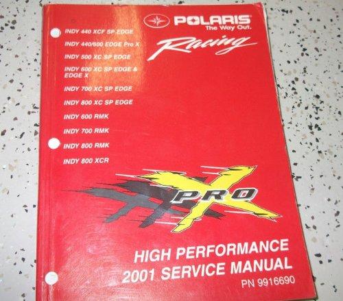 2001 Polaris INDY 440 600 500 700 800 RMK XCR EDGE Shop Repair Service Manual Binding: - Cover Rmk