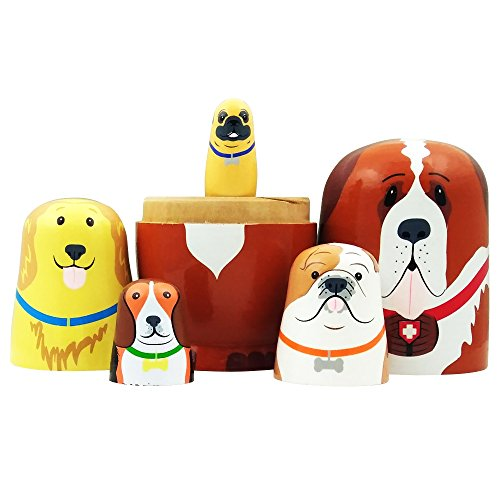 5pcs Cute Dog Nesting Dolls Handmade Wooden Russian Matryoshka Wishing Dolls Birthday for Kids Decoration by DWG (Image #1)