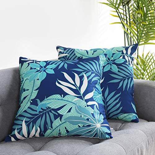 Uhomy Home Decorative Colorful Summer Vacation Cushion Cases Square Throw Pillow Covers Tropical Beach for Bed, Sofa,Tropical Leaves, Canna 18x18 inch, 45x45 cm, Set of 2 (Covers Tropical Throw Pillow)