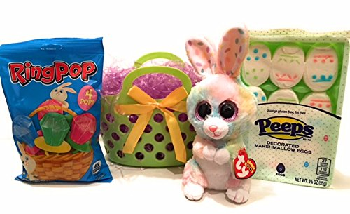 [Ty Beanie Boo Easter Basket Gift Set with Bunny, Peeps and Ring Pops] (Wine And Cheese Couples Costume)