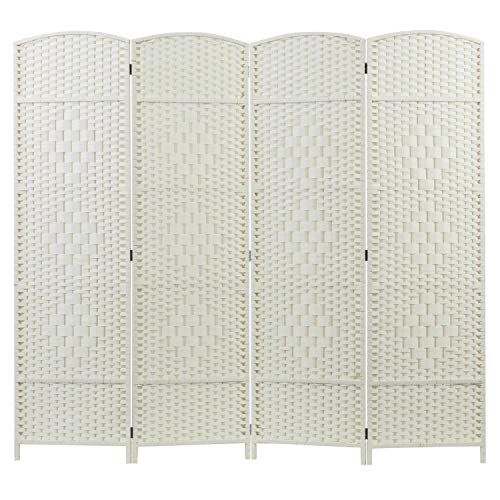 MyGift 4-Panel Dual-Hinged Freestanding Woven White Wood Room Divider (Screen Outdoor Modern Privacy)