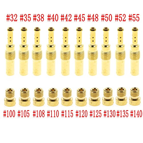Carbhub 10 pcs Carburetor Main Jet with 10 pcs Slow & Pilot Jet for PWK Keihin OKO CVK Fits Chinese Scooters ATVs Karts with 125cc 150cc GY6 Motor Engine Carb