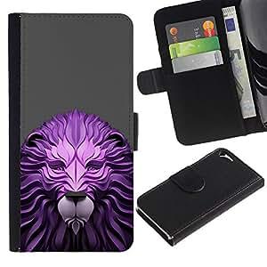 WINCASE Cuadro Funda Voltear Cuero Ranura Tarjetas TPU Carcasas Protectora Cover Case Para Apple Iphone 5 / 5S - papel madera león gris King Animal