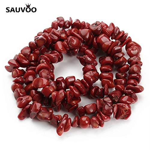Chip Bracelet Red Coral (Calvas 1 Strand/lot Irregular Red Coral Beads About 80cm 8-12mm Freerorm Shape Gravel Chip Loose Beads for DIY Bracelets Finding - (Color: Coral Beads))