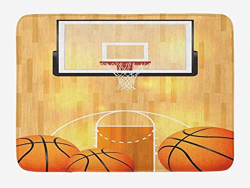 RS-pthrAB Sports Bath Mat, Vivid Basketball Court Balls and Hoop Madness Rim Court Parquet Hardwood, Plush Bathroom Decor Mat with Non Slip Backing, 16 W X 24 W Inches, Orange Black White