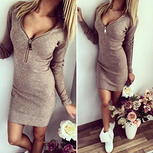 GOTD 2016 Spring Sexy Women Zip V Neck Long Sleeve Bodycon Party Dresses (L, Gray) by GOTD (Image #2)