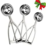 ice cream scooper 5 oz - Ice Cream Scoop Set of 3 - Premium 18/8 Stainless Steel Cookie Scoop with Trigger Release, Cookie Dough Scoops Include Large- Medium-Small Sizes Balls for Ice Cream/Cupcake/Muffin/Meat/Potato(3 Pcs)