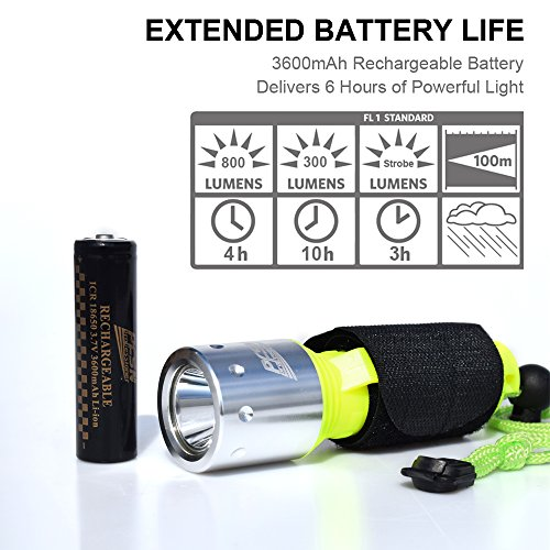 800 Lumen LED Dive Light Rechargeable PFSN Professional Scuba Diving Flashlight Underwater 50m Waterproof Best for Expert Diving at Night Snorkeling Caving Fishing(18650 Battery and Charger Included) by PFSN professioner (Image #4)