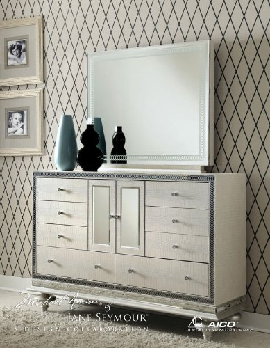- Aico Amini Hollywood Swank Leather Drawer Dresser with Rectangle Mirror By