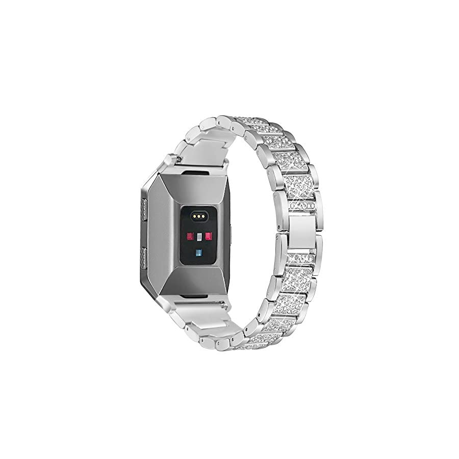 """bayite Metal Bands Compatible Fitbit Ionic Replacement Band with Rhinestone Bling Adjustable, 5.5"""" 7.5"""""""