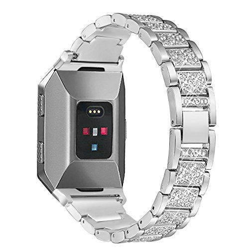 bayite Metal Bands Compatible Fitbit Ionic Replacement Band with Rhinestone Bling Adjustable Bracelet, Silver ()