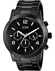 GUESS Mens U15061G1 Sporty Black Stainless Steel Watch with Chronograph Dial and Deployment Buckle