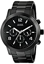 GUESS Men's U15061G1 Black Ion-Plated Chronograph Watch