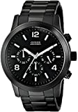 GUESS Men's U15061G1 Sporty Black Stainless Steel Watch with Chronograph Dial and Deployment Buckle