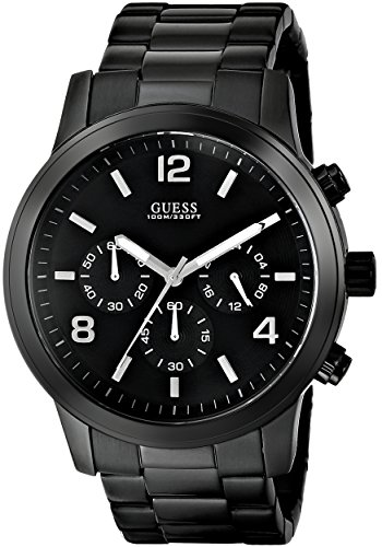 GUESS Men's U15061G1 Sporty Black Stainless Steel Watch with Chronograph Dial and Deployment Buckle (Guess Steel Watch)
