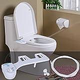 Hindom Bidet Toilet Seat Attachment, Adjustable Angle Nozzle Non-Electric Plastic Bathroom Toilet Attachment Bidet Fresh Water Spray Nozzle Toilet Seat Attachment (US STOCK) (White)