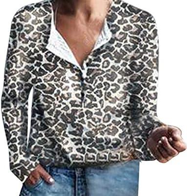 WDFSER Primavera Otoño Moda Mujer Leopardo Blusa De Manga Larga Camisa con Botones Tops Casual Blusa Mujeres Tops Sexy Malla Blusas: Amazon.es: Deportes y aire libre