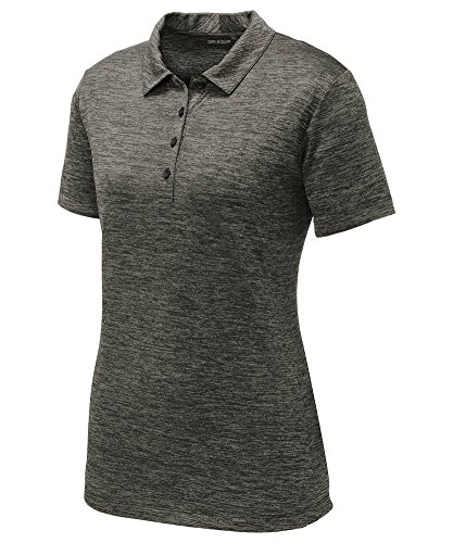 DRIEQUIP Ladies PosiCharge Electric Heather Polo-3XL-GreyBlackElectric