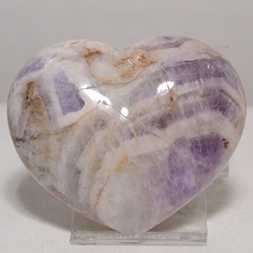 67mm x 57mm Madagascar Amethyst Banded Puffy Carved Heart Purple Stone Of Love Metaphysical Healing Mineral Specimen Crown and Etheric Chakra Stone Quartz