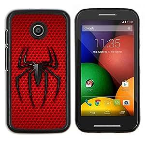 EJOOY---Cubierta de la caja de protección para la piel dura ** Motorola Moto E ** --Minimalista Rojo Negro Araña