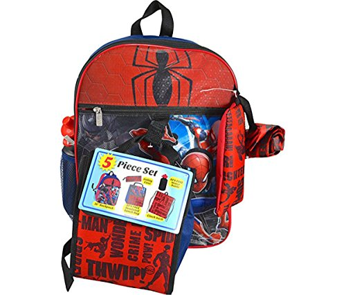(Mozlly Multipack - Marvel Comics Spider-Man Backpack - 16 x 12 x 5 inch - Includes Lunch Bag, Utility Case, Water Bottle and Cinch Bag - Zipper Closure - Fashion)