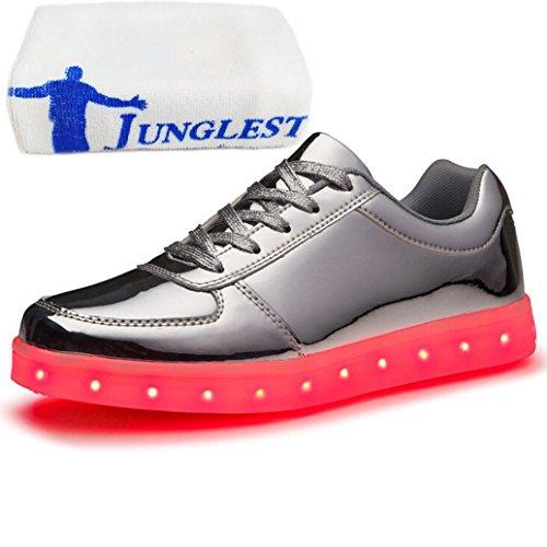 (présents: Petite Serviette) Junglest® 7 Recharge Usb Led De Couleur Chaussures De Sport Brillantes Chaussures De Sport D'espadrille Chaussures De Sport Pour Top Argent Lo Obligations Unisexes
