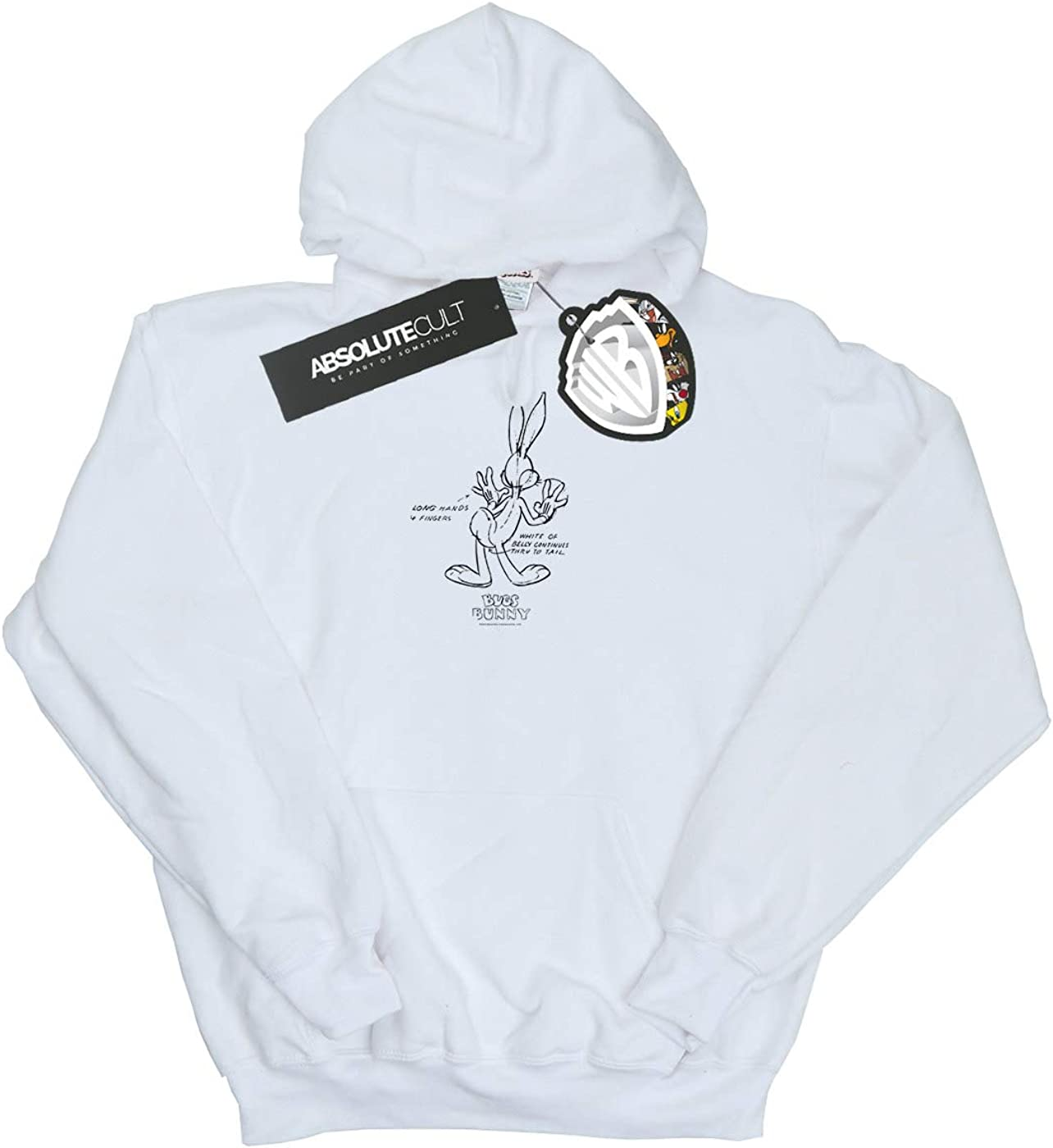 Absolute Cult Looney Tunes Girls Bugs Bunny White Belly Hoodie
