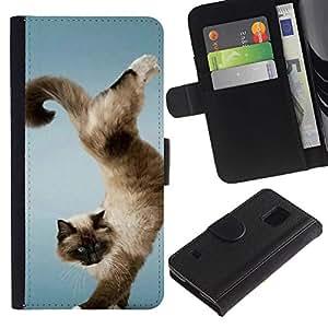 iBinBang / Flip Funda de Cuero Case Cover - Divertido truco Gato Hermoso - Samsung Galaxy S5 V SM-G900