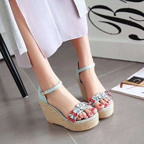 Toe Womens Fashion Wedges Rhinestones Open Sandals Platform Blue Sweet Carolbar Dress Buckle aZqdwtAx8