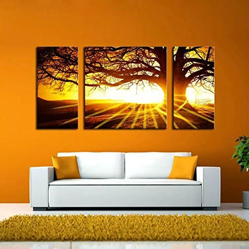 BPAGO Landscape Big Tree in Sunset Canvas Paintings Framed Modern Abstract Paintings Giclee Canvas Paintings Home Decorations Wall Art(12