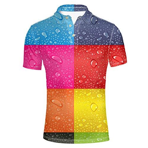HUGS IDEA Stylish Mens Regular Fit Polos Shirt Waer Drops Pattern Short Sleeve Tops