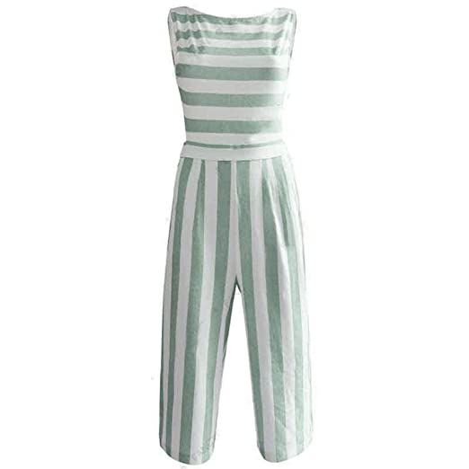bfba25319a7 Amazon.com  Limsea Women Sleeveless Striped Jumpsuit Casual Clubwear Wide  Leg Pants Outfit  Clothing
