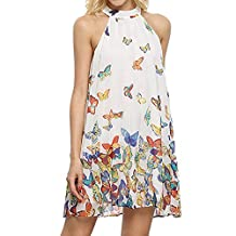 BingYELH Women's Casual Cold Shoulder Beach Dresses Sleeveless Halter Neck Butterfly Print Mini Dress Sundress