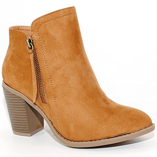 TRENDSup Collection Women's Fashion Suede Booties (8.5, Chestnut)