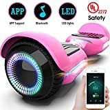 Gyroor T580 Hoverboard Self Balancing Scooter with Music Speaker LED Lights, 6.5 inch Two-Wheel Electric Scooter for Kids Adult - UL2272 Certificated (Pink)