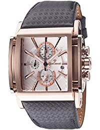 Yves Camani Escaut Mens Wrist Watch Quartz Analog Silver Dial Rosegold Stainless Steel Casing & Brown