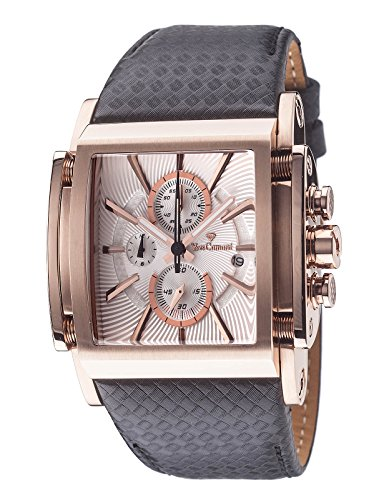 Yves Camani Escaut Mens Wrist Watch Quartz Analog Silver Dial Rosegold Stainless Steel Casing & Brown Leather Strap